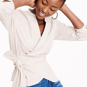 J. Crew Stretch Cotton Stripe Wrap Top